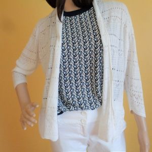H&M Medium open front knit cardigan - white